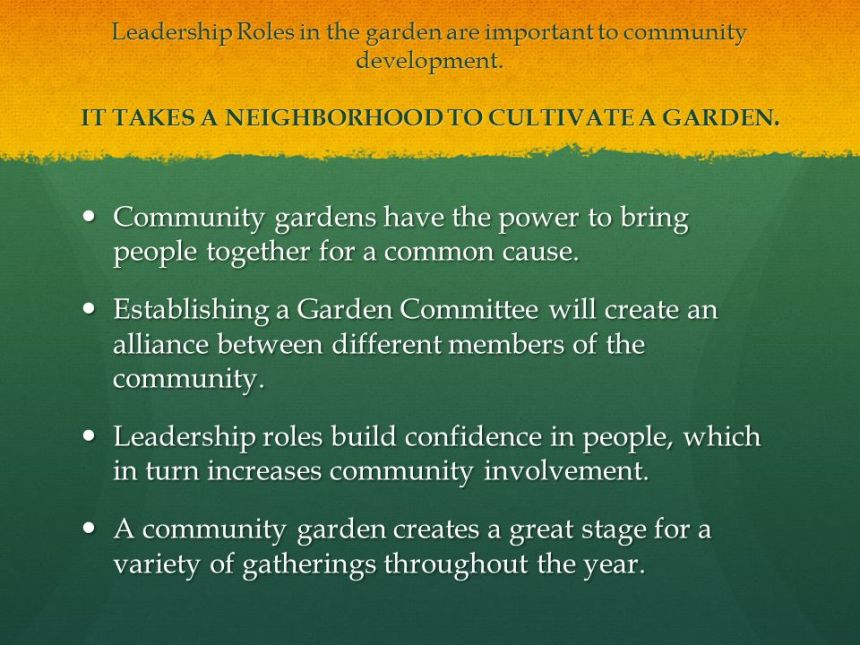 community garden leadership