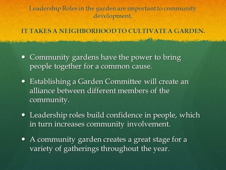 community garden leadership